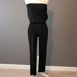 Slouchy Cotton Strapless Jumpsuit